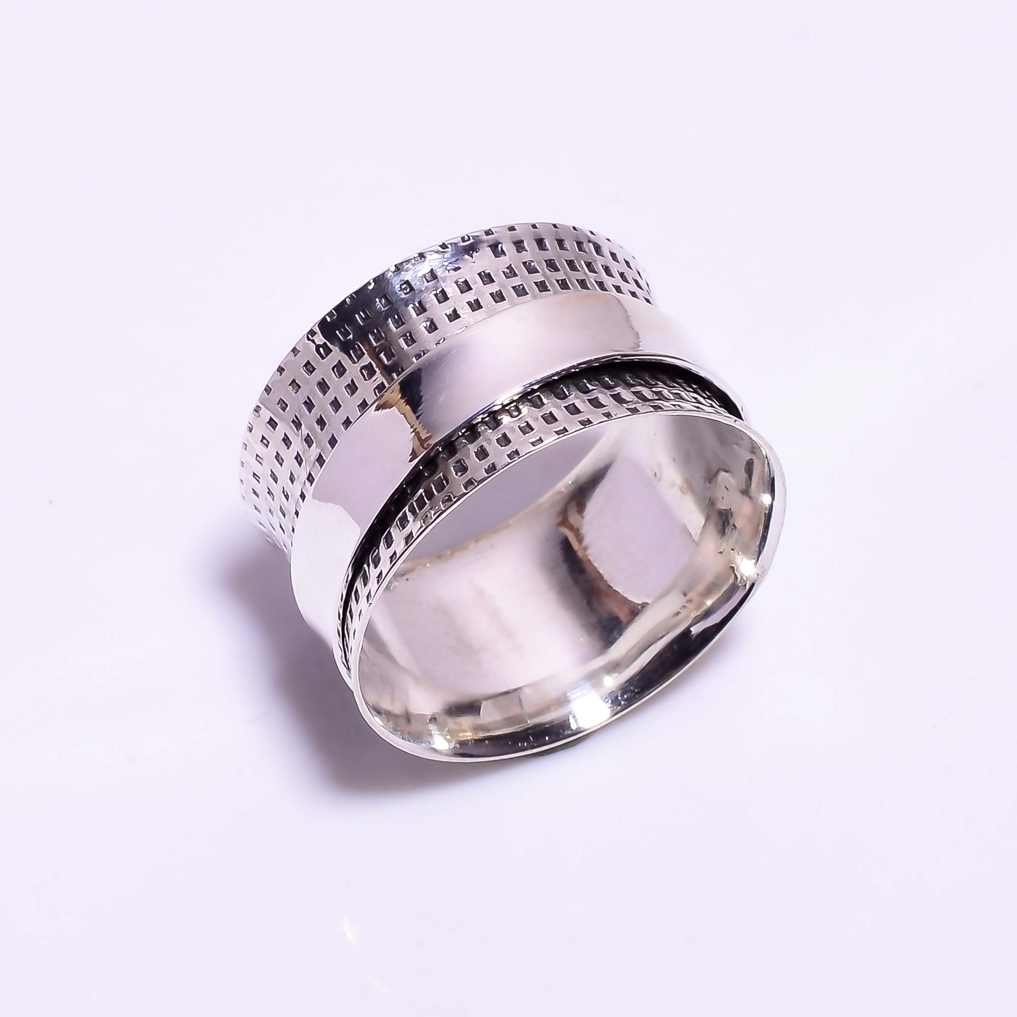925 Sterling Silver Meditation Spinner Ring Size US 11.75