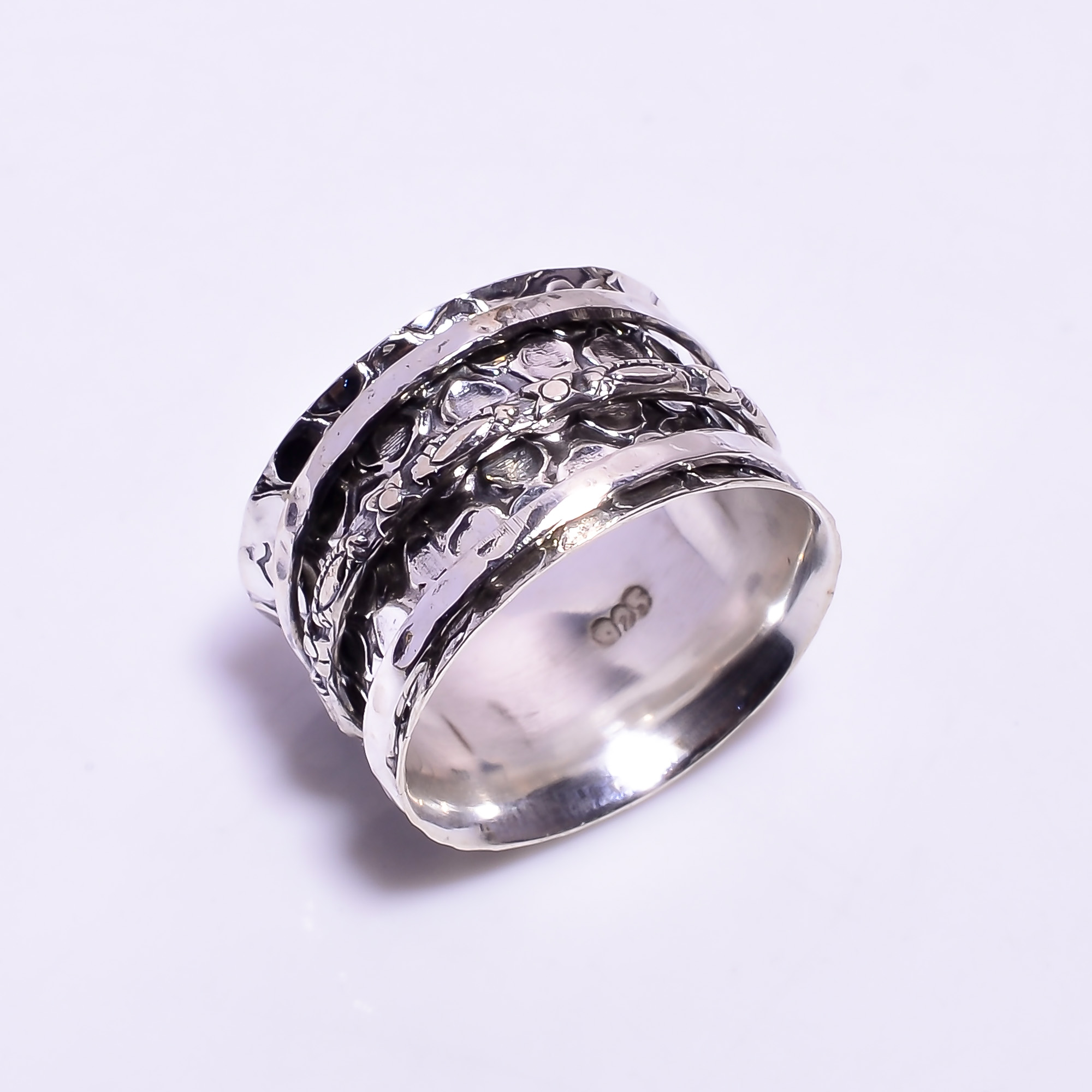925 Sterling Silver Meditation Spinner Ring Size US 9.25