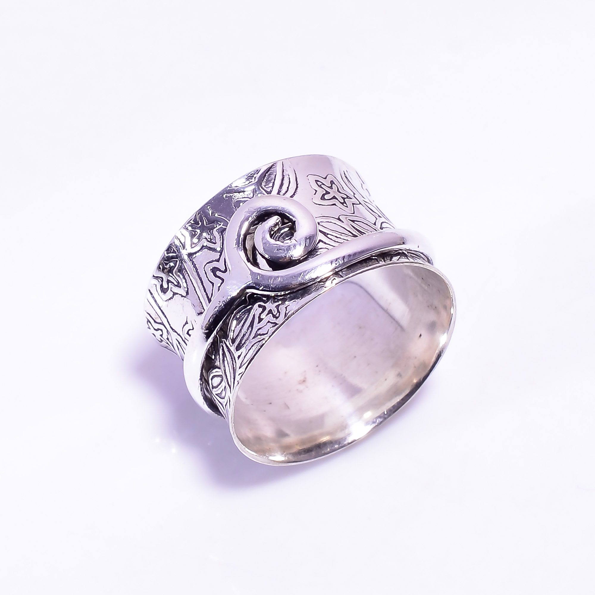 925 Sterling Silver Meditation Spinner Ring Size US 9.75