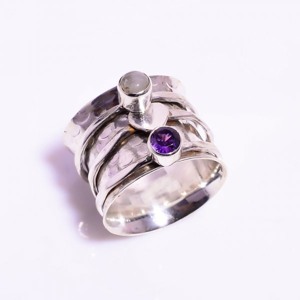 Natural Rainbow Moonstone Amethyst 925 Sterling Silver Meditation Spinner Ring Size US 4.25
