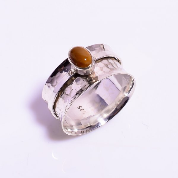 Tiger Eye Gemstone 925 Sterling Silver Meditation Spinner Ring Size US 10.25