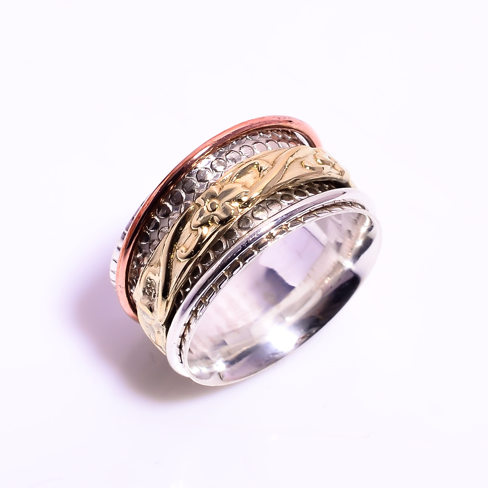 925 Sterling Silver Meditation Spinner Ring Size US 7.75