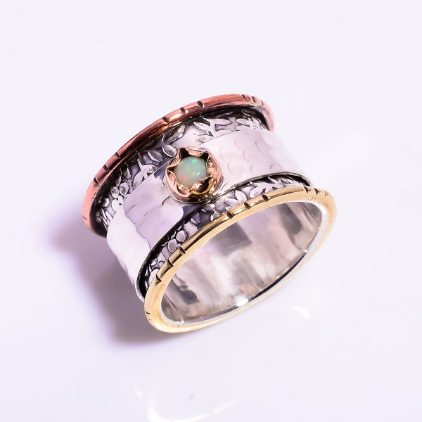 Ethiopian Opal Gemstone 925 Sterling Silver Meditation Spinner Ring Size US 9.75