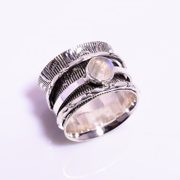 Natural Rainbow Moonstone 925 Sterling Silver Meditation Spinner Ring Size US 5.25