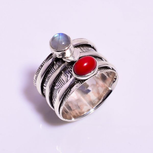 Labradorite Red Coral Gemstone 925 Sterling Silver Meditation Spinner Ring Size US 8.25