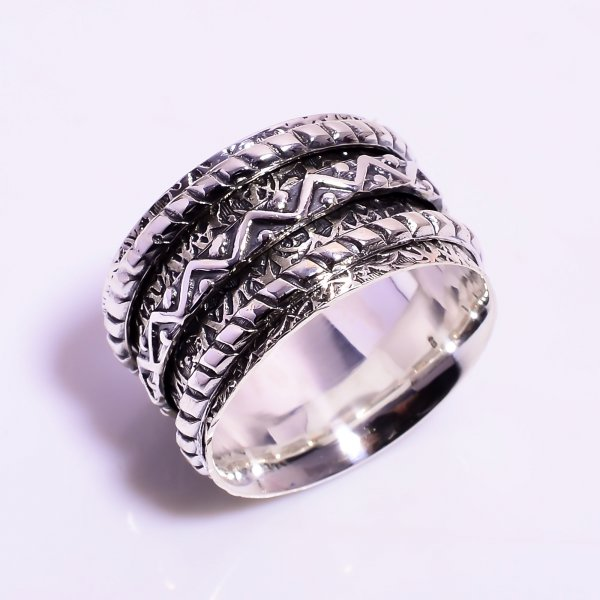 925 Sterling Silver Meditation Spinner Ring Size US 10.75