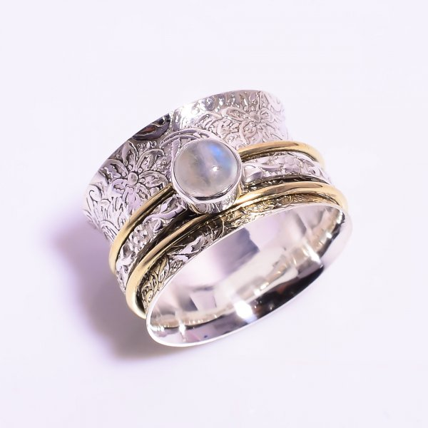 Natural Rainbow Moonstone 925 Sterling Silver Meditation Spinner Ring