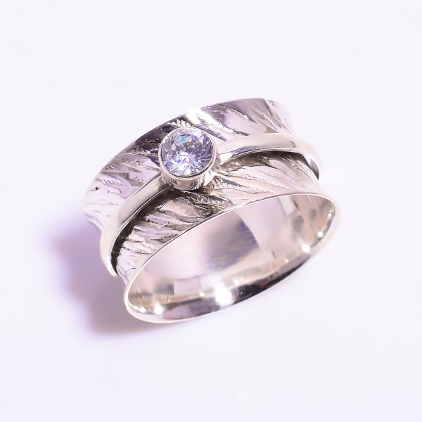 Cubic Zirconia Gemstone 925 Sterling Silver Meditation Spinner Ring Size US 11.5