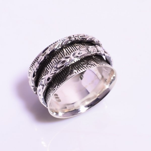 925 Sterling Silver Meditation Spinner Ring Size US 7