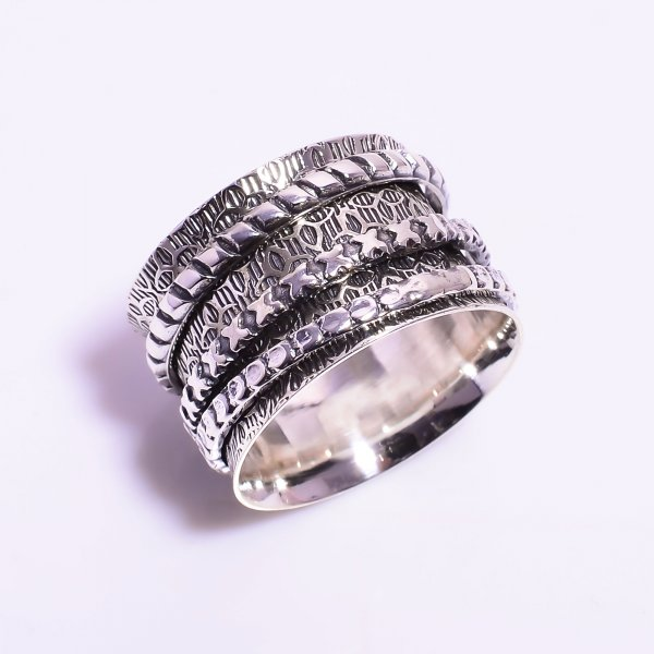 925 Sterling Silver Meditation Spinner Ring Size US 8.75