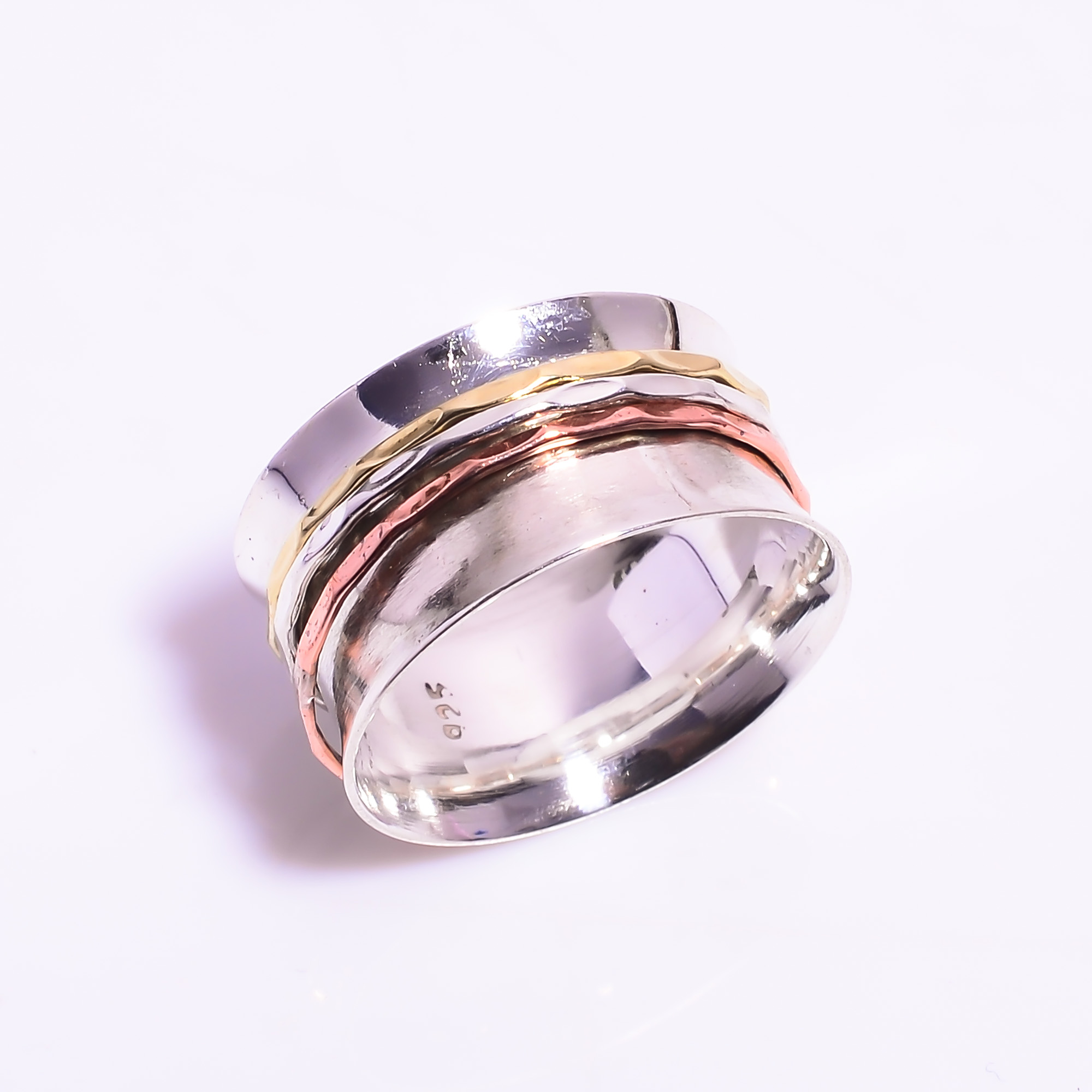 925 Sterling Silver Meditation Spinner Ring Size US 8