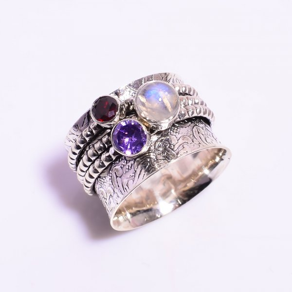 Natural Rainbow Moonstone Amethyst  925 Sterling Silver Meditation Spinner Ring Size US 8.75