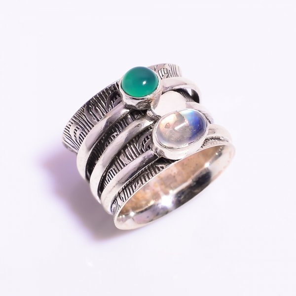 Natural Rainbow Moonstone Green Onyx 925 Sterling Silver Meditation Spinner Ring Size US 5.75