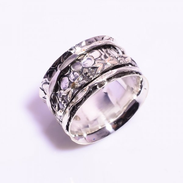 925 Sterling Silver Meditation Spinner Ring Size US 10