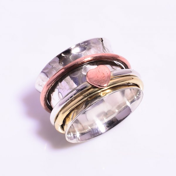 925 Sterling Silver Meditation Spinner Ring Size US 7.5