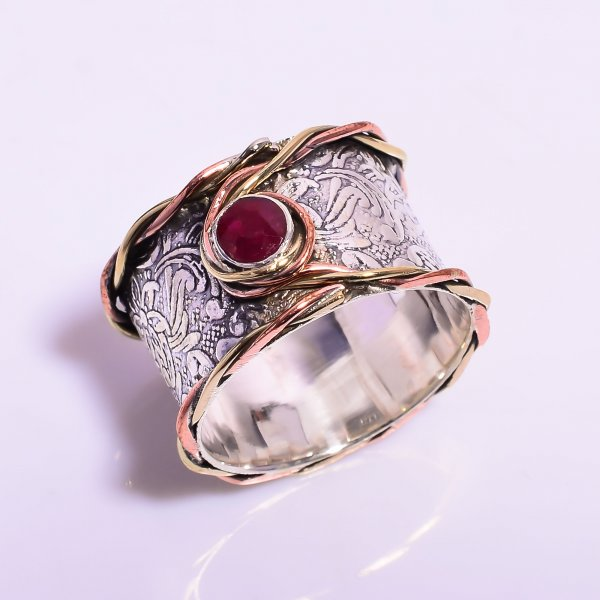 Ruby 925 Sterling Silver Meditation Spinner Ring