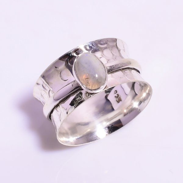 Natural Rainbow Moonstone 925 Sterling Silver Meditation Spinner Ring Size US 9.25