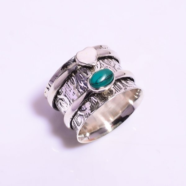 Turquoise Gemstone 925 Sterling Silver Meditation Spinner Ring Size US 6.75