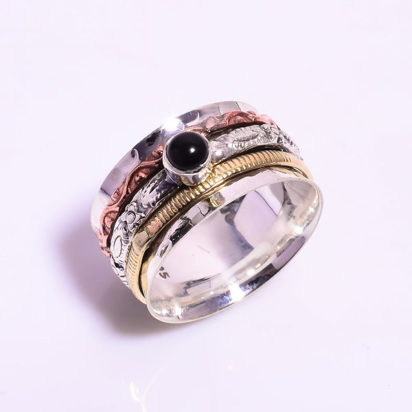 Black Onyx Gemstone 925 Sterling Silver Meditation Spinner Ring Size US 8.75