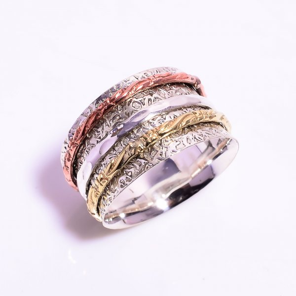 925 Sterling Silver Meditation Spinner Ring Size US 12