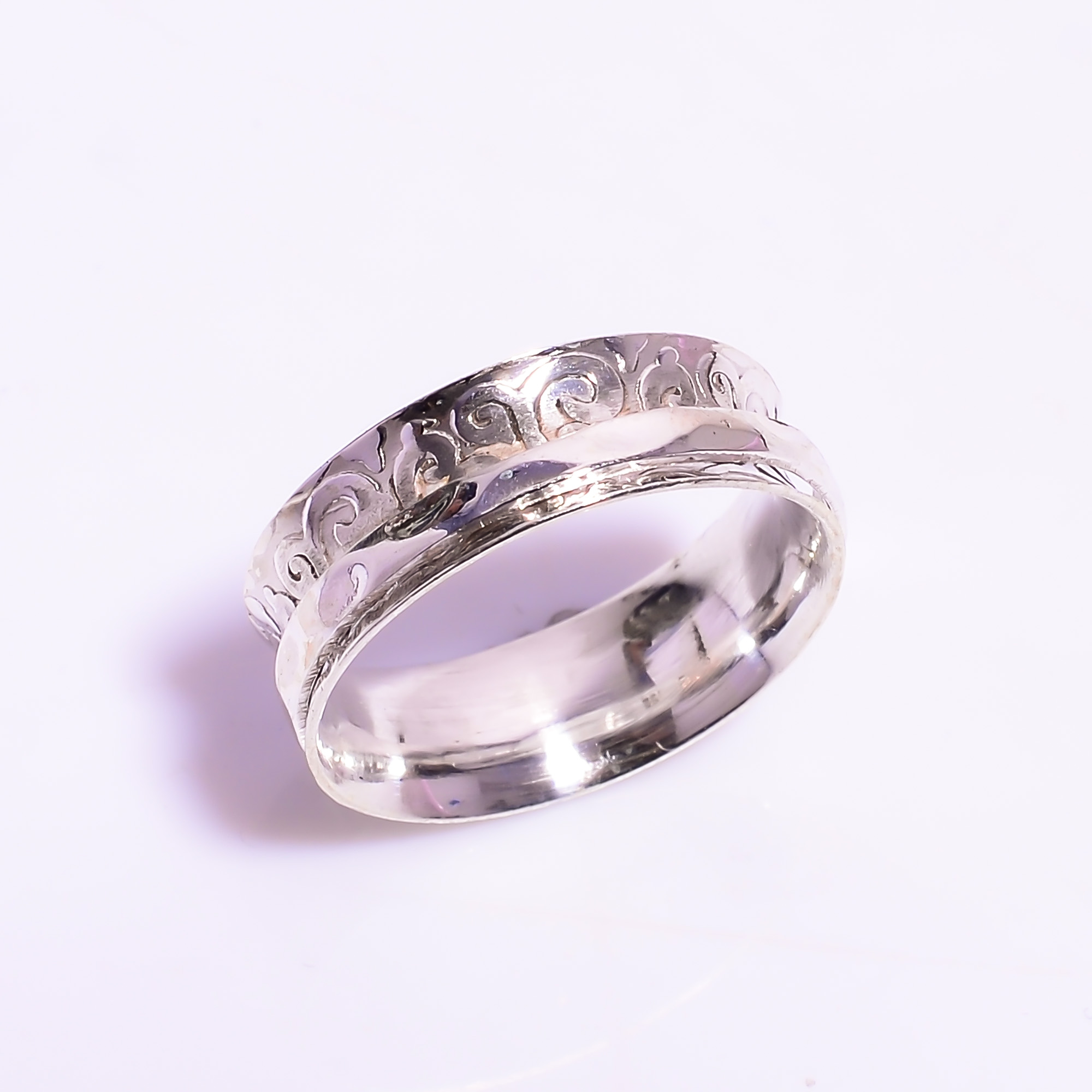 925 Sterling Silver Meditation Spinner Ring Size US 6.75