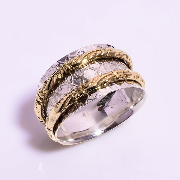 925 Sterling Silver Meditation Spinner Ring Size US 8.25