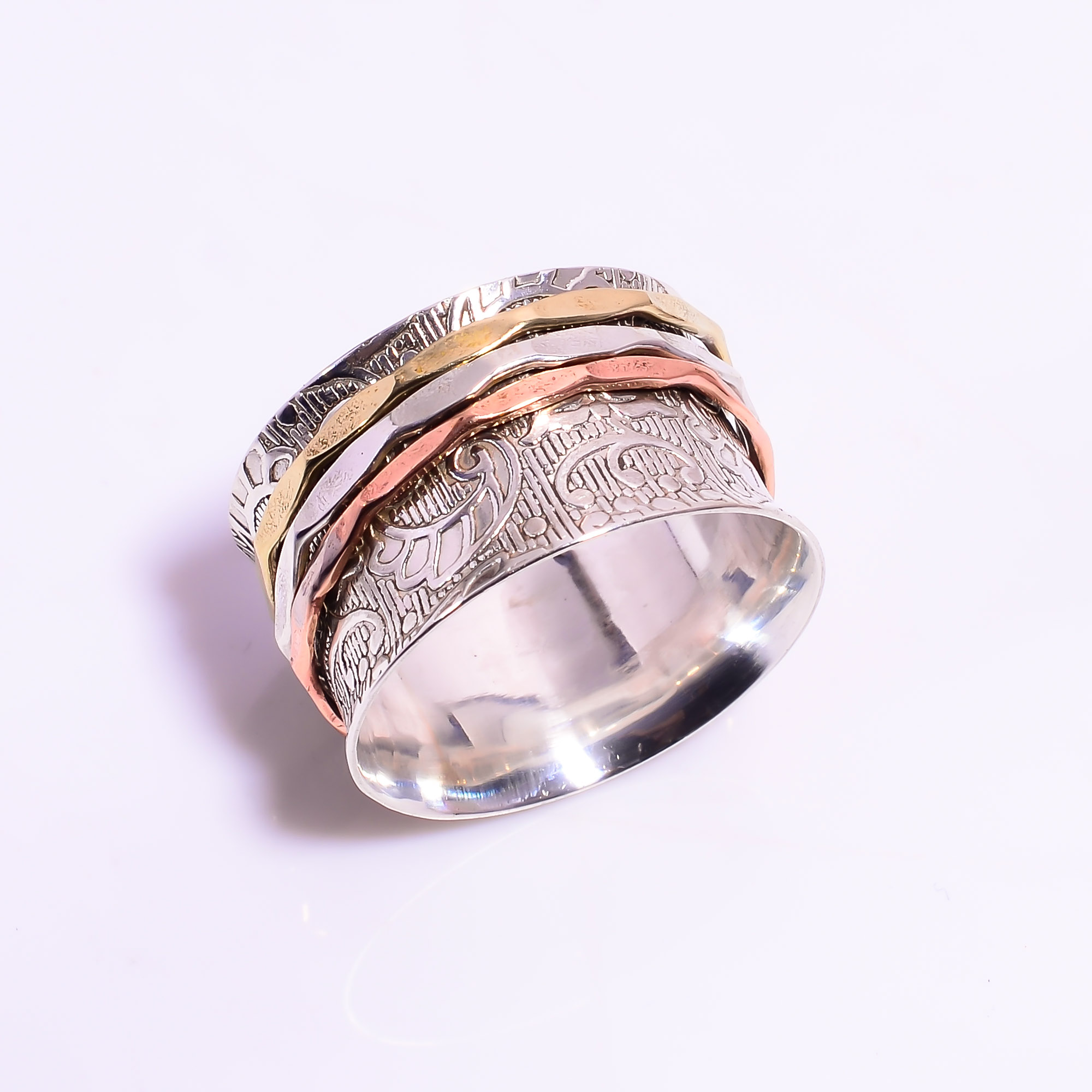 925 Sterling Silver Meditation Spinner Ring Size US 11