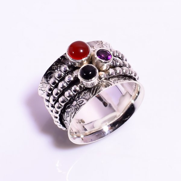 Red Onyx Amethyst 925 Sterling Silver Meditation Spinner Ring Size US 8.5