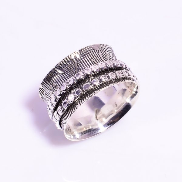 925 Sterling Silver Meditation Spinner Ring Size US 7.25