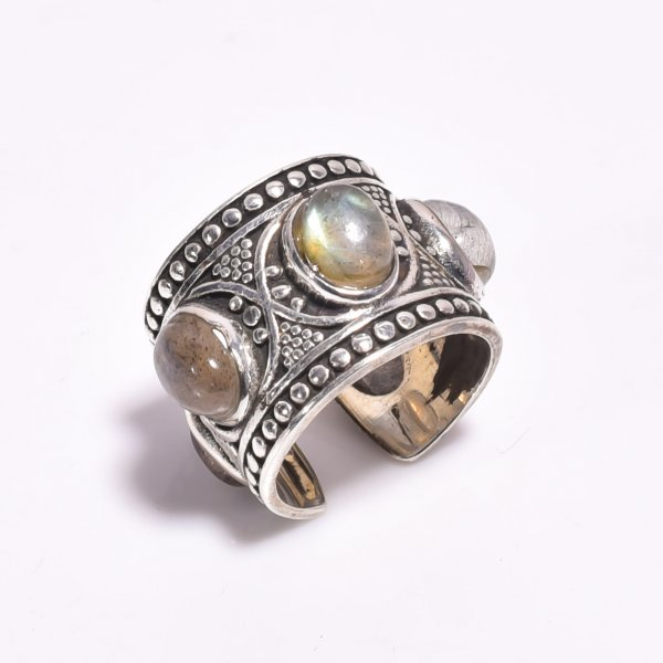 Labradorite Gemstone 925 Sterling Silver Adjustable Ring