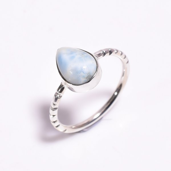 Larimar Gemstone 925 Sterling Silver Ring Size US 7