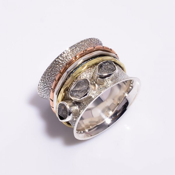 Natural Herkimer Diamond 925 Sterling Silver Meditation Spinner Ring
