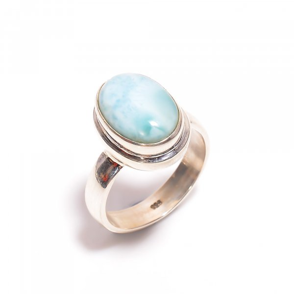 Natural Larimar Gemstone 925 Sterling Silver Ring Size US 8.75
