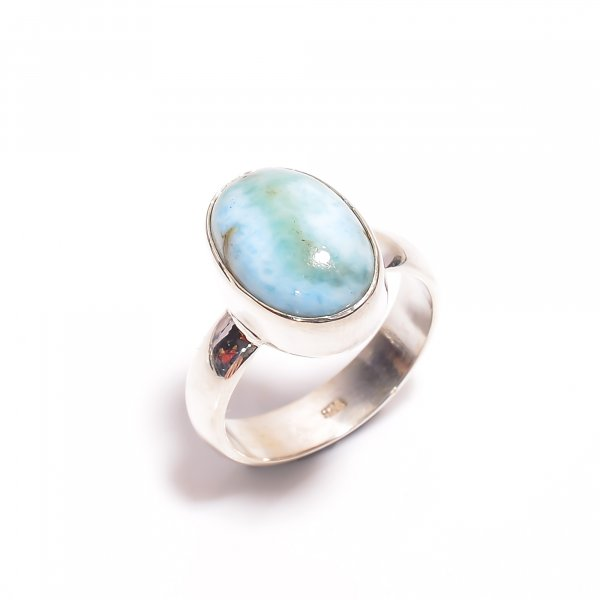 Natural Larimar Gemstone 925 Sterling Silver Ring Size US 7.75