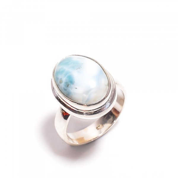 Natural Larimar Gemstone 925 Sterling Silver Ring Size US 8