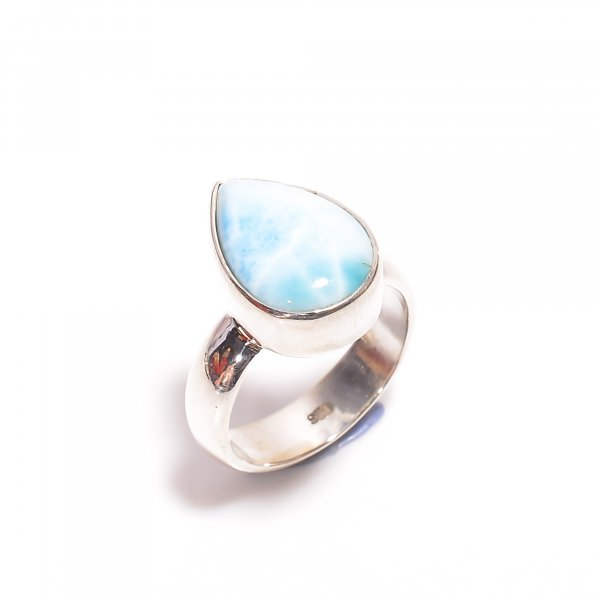 Natural Larimar Gemstone 925 Sterling Silver Ring Size US 5.5