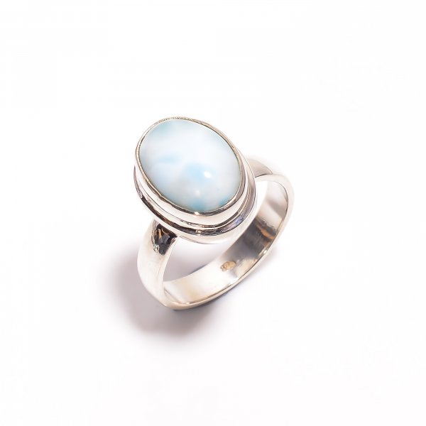 Natural Larimar Gemstone 925 Sterling Silver Ring Size US 8.5