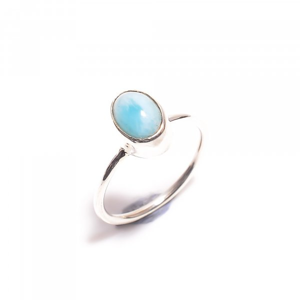 Natural Larimar Gemstone 925 Sterling Silver Ring Size US 5.75