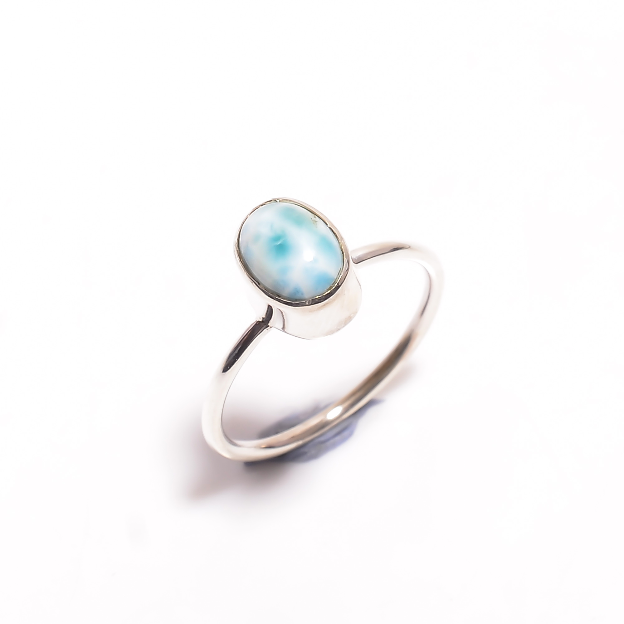 Natural Larimar Gemstone 925 Sterling Silver Ring Size US 6.75