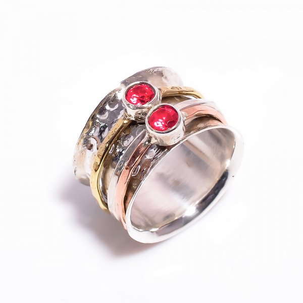 Garnet Gemstone 925 Sterling Silver Meditation Spinner Ring