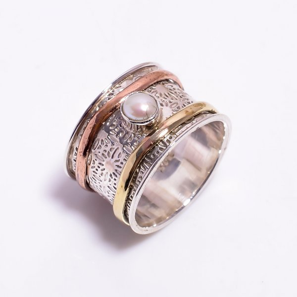 Pearl Gemstone 925 Sterling Silver Meditation Spinner Ring
