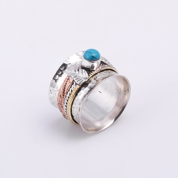 Turquoise 925 Sterling Silver Meditation Spinner Ring Size US 7.75