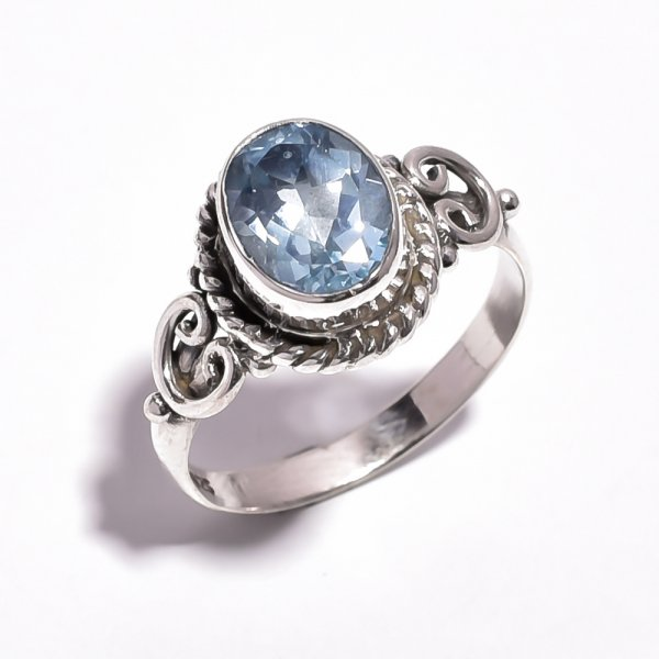 Blue Topaz Gemstone 925 Sterling Silver Ring