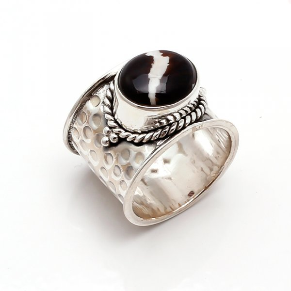 Coffee Jasper Gemstone 925 Sterling Silver Ring Size 7.5