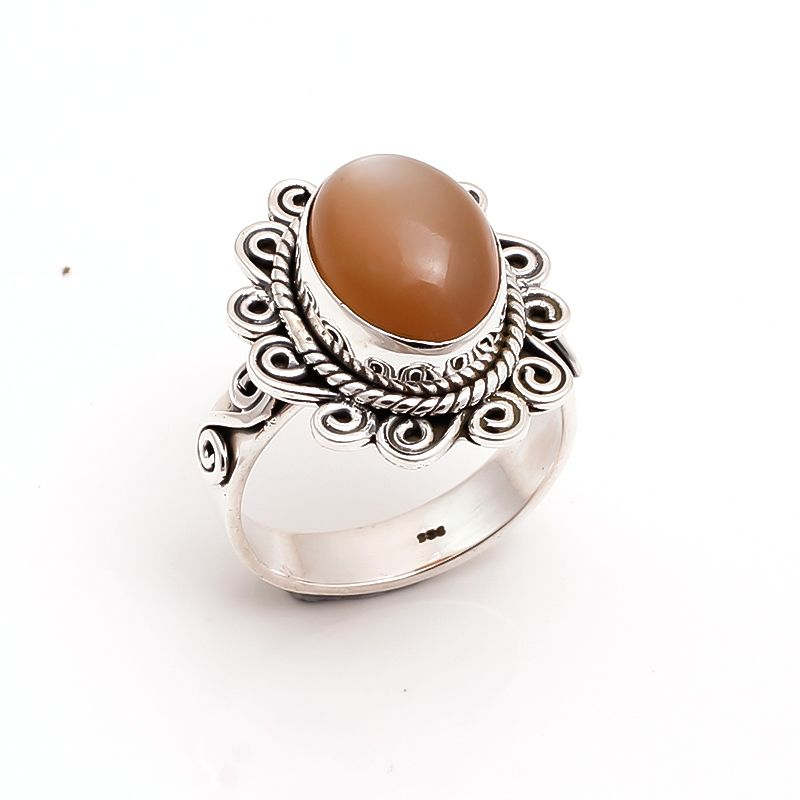 Moonstone Gemstone 925 Sterling Silver Ring Size 9