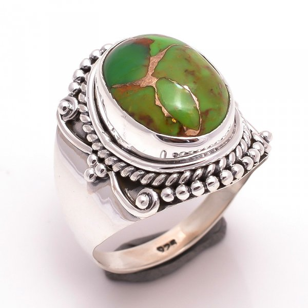 Green Copper Turquoise Gemstone 925 Sterling Silver Ring Size 7