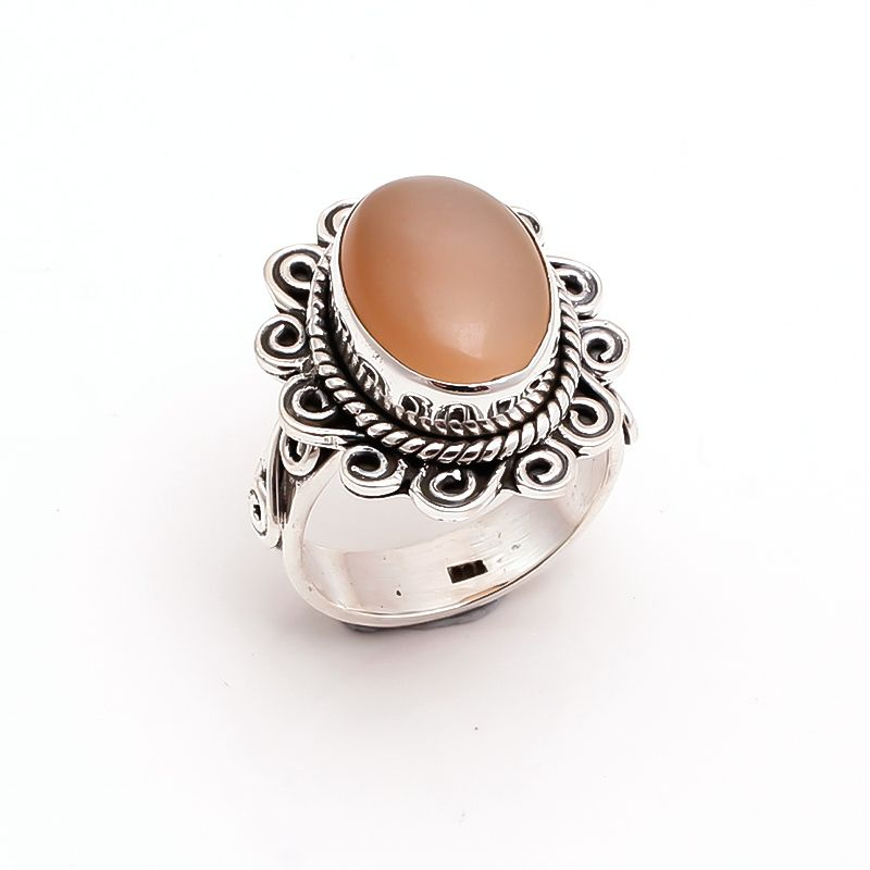 Moonstone Gemstone 925 Sterling Silver Ring Size 6