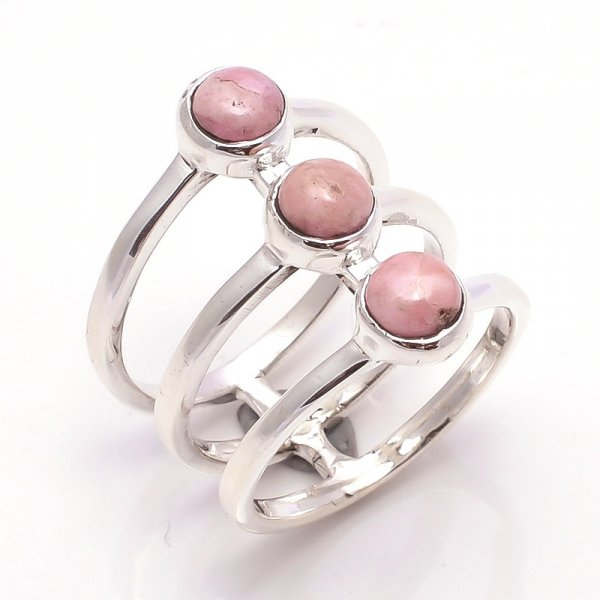 Rhodochrosite Gemstone 925 Sterling Silver Ring Size 7