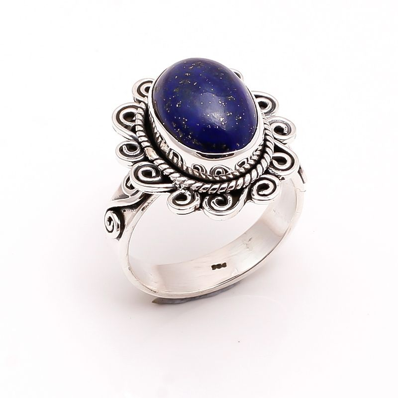 Lapis Gemstone 925 Sterling Silver Ring Size 9
