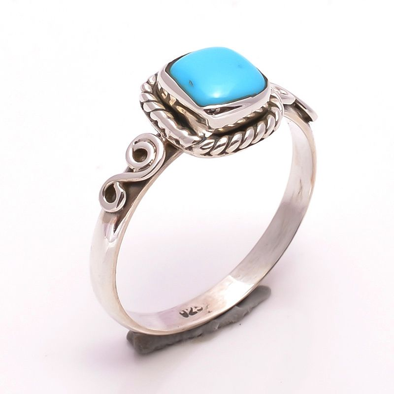 Sleeping Beauty Turquoise Gemstone 925 Sterling Silver Ring Size 8